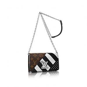 Louis Vuitton Black Calfskin : Studs and Monogram Canvas Twist Wallet Bag