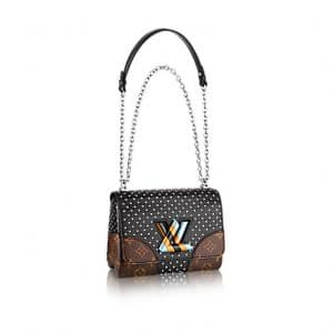 Louis Vuitton Black Calfskin : Studs and Monogram Canvas with Striped Lock Twist MM Bag