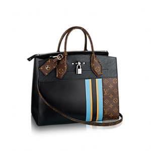 Louis Vuitton Black Calfskin and Monogram Canvas City Steamer MM Bag