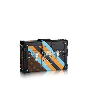 Louis Vuitton Black Calfskin and Monogram Canvas Petite Malle Bag