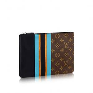 Louis Vuitton Black Calfskin and Monogram Canvas Pochette Plate MM Bag