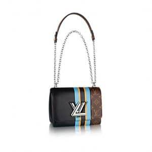 Louis Vuitton Black Calfskin and Monogram Canvas Twist MM Bag