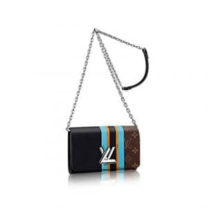 Louis Vuitton Black Calfskin and Monogram Canvas Twist Wallet Bag