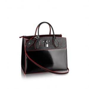Louis Vuitton Black/Red Smooth Calfskin and Epi City Steamer PM Bag