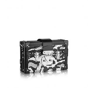 Louis Vuitton Black/Silver Sequined Petite Malle Bag
