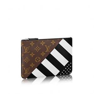 Louis Vuitton Black/White Calfskin and Monogram Canvas Pochette Plate PM Bag