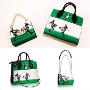Louis Vuitton Green/White Football Print Twista and City Steamer Bags - Cruise 2017