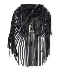 Saint Laurent Black Croc-Embossed Fringe Anita Toy Flat Bag