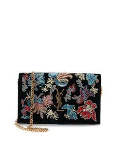 Saint Laurent Black Multicolor Sequin Flower Rock Monogram Wallet On Chain Bag