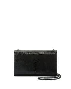 Saint Laurent Black Python-Stamped Calfskin Monogram Kate Medium Bag