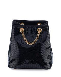 Saint Laurent Black Sequined Emmanuelle Baby Bucket Bag