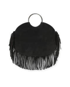 Saint Laurent Black Suede Bracelet Sac Fringe Serpent Hobo Bag