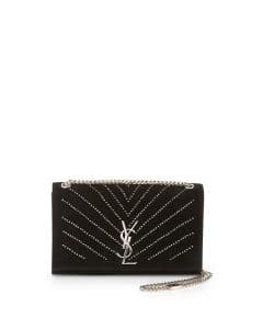 Saint Laurent Black Suede Crystal Medium Monogram Shoulder Bag