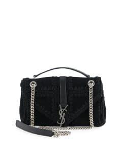 Saint Laurent Black Suede Macrame Monogram Slouchy Chain Medium Shoulder Bag