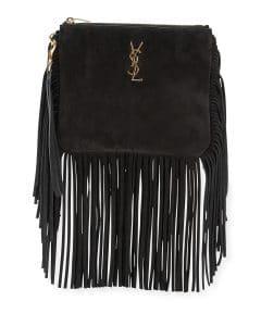 Saint Laurent Black Suede Monogram Fringe Pouch Bag