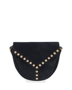 Saint Laurent Black Suede Y Studs Crossbody Bag