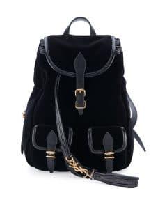 Saint Laurent Black Velour Festival Backpack Small Bag