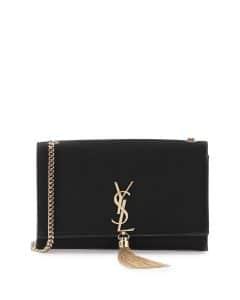 Saint Laurent Black Velvet Monogram Kate Tassel Medium Bag