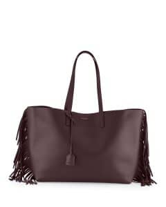 Saint Laurent Bordeaux Fringed Shopping Tote Bag