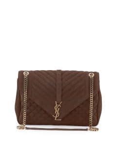 Saint Laurent Brown Suede Tri-Quilt Large Monogram Slouchy Chain Shoulder Bag
