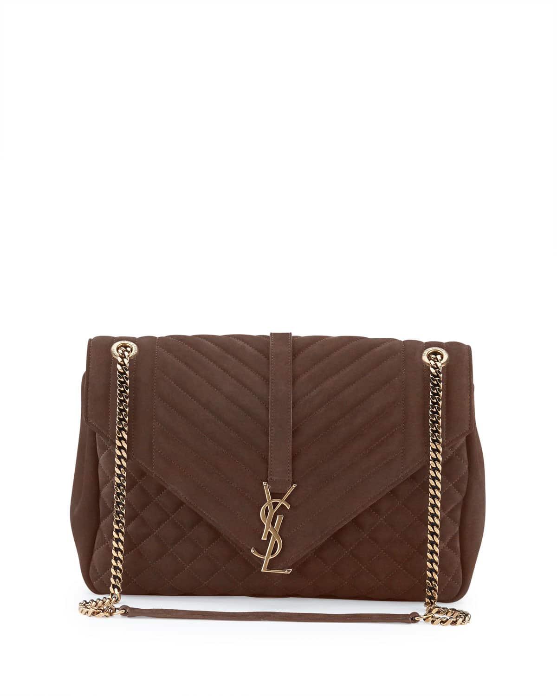 a2050ad7306 Saint Laurent Brown Suede Tri-Quilt Large Monogram Slouchy Chain Shoulder  Bag
