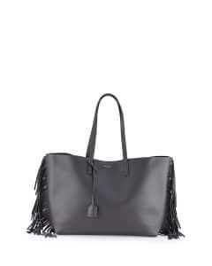 Saint Laurent Dark Anthracite Fringed Shopping Tote Bag