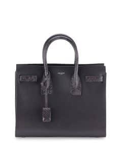 Saint Laurent Dark Anthracite Grained Leather:Python Sac De Jour Small Bag