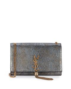 Saint Laurent Dark Platinum Monogram Kate Medium Bag