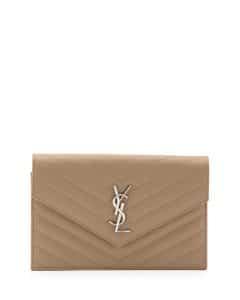 Saint Laurent Deep Beige Monogram Matelasse Shoulder Bag