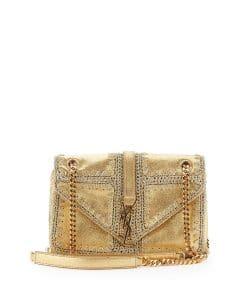 Saint Laurent Gold Macrame Monogram Slouchy Chain Medium Shoulder Bag