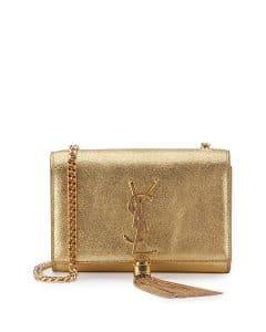 Saint Laurent Gold Metallic Monogram Kate Tassel Small Bag