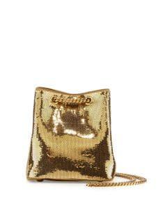 Saint Laurent Gold Sequined Emmanuelle Baby Bucket Bag