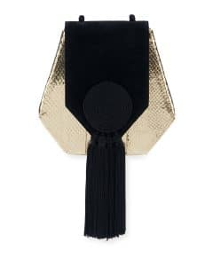 Saint Laurent Gold/Black Snakeskin:Suede Opium Crossbody Bag