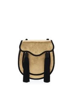 Saint Laurent Gold/Black Velour Opium 2 Tassel Crossbody Bag