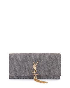 Saint Laurent Gold/Silver Fabric Monogram Kate Tassel Clutch Bag