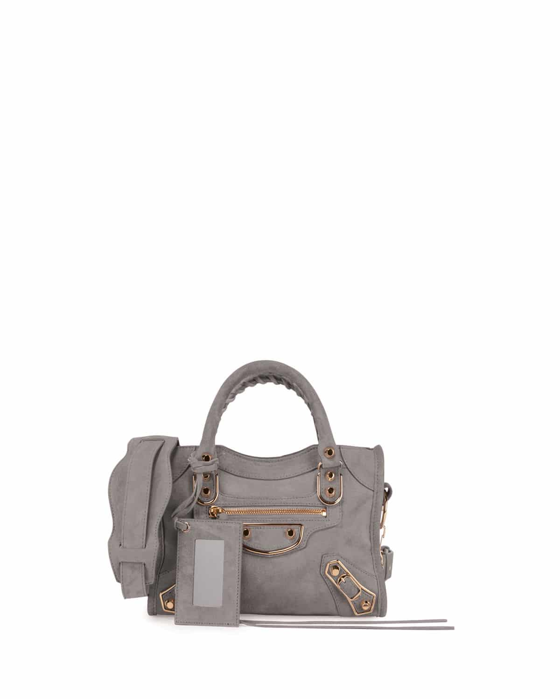 b4c3ad18509f Balenciaga Gris Perle Suede Classic Metallic Edge City Bag