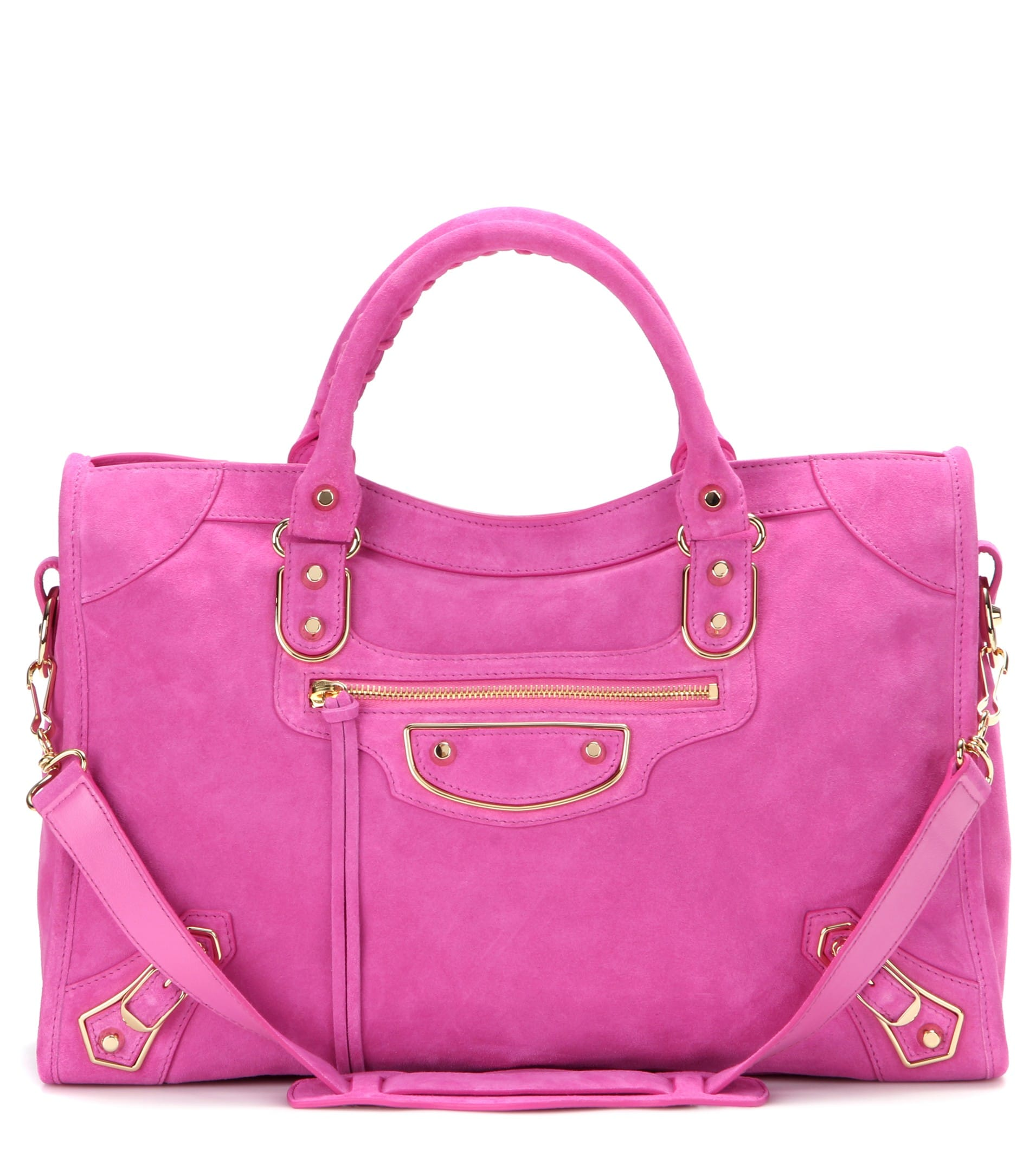 226cf559b94 Balenciaga Rose Bubble Gum Suede Classic Metallic Edge City Bag