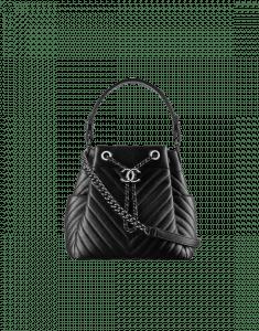 Chanel Black Chevron Small Drawstring Bag