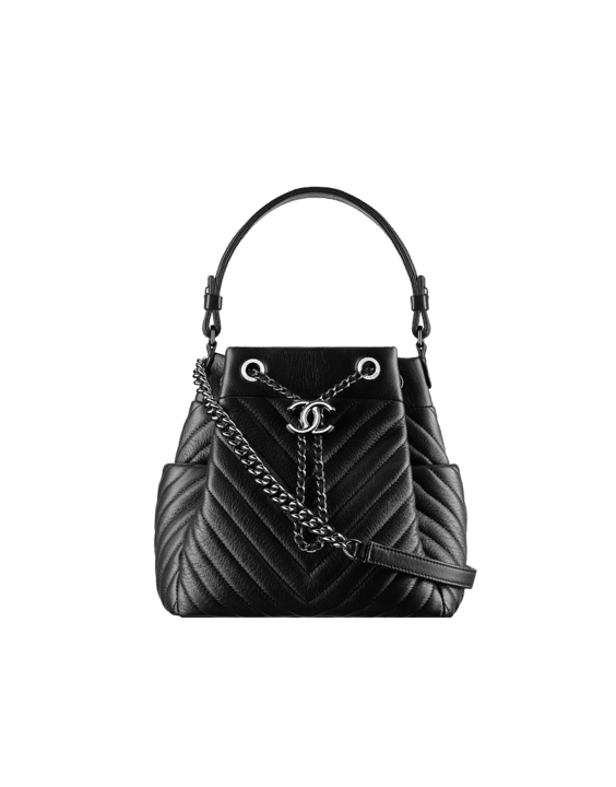 3f21c966fd40 Chanel Black Chevron Small Drawstring Bag