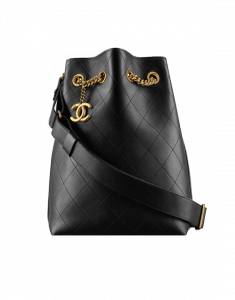 Chanel Black On My Shoulder Small Drawstring Bag