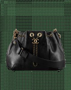 Chanel Black Python Drawstring Bag