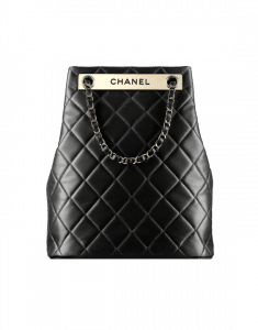 Chanel Black Quilted Drawstring Bag