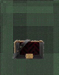 Chanel Black/Red Velvet/Calfskin Boy Chanel Flap Small Bag
