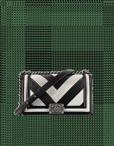 Chanel Black/White Pleated Calfskin Boy Chanel in Rome Old Medium Bag