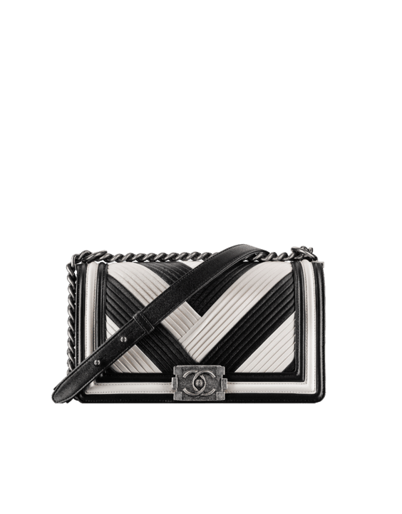 003d8db6eb98 Chanel Black White Pleated Calfskin Boy Chanel in Rome Old Medium Bag