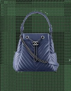 Chanel Blue Chevron Medium Drawstring Bag