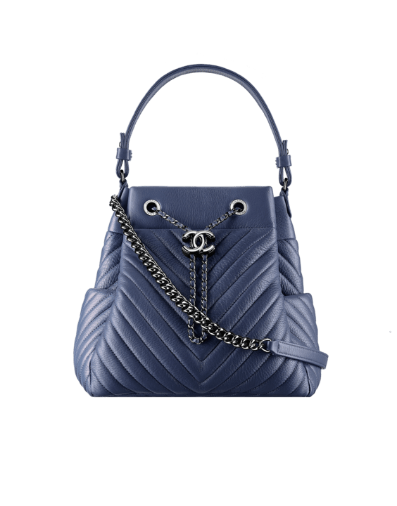Chanel Blue Chevron Medium Drawstring Bag