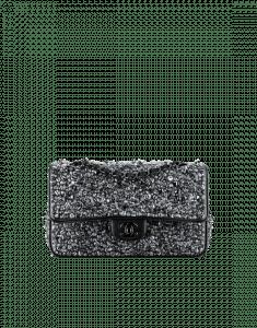 Chanel Blue/Gray/Black Embroidered Lambskin Classic Flap Medium Bag