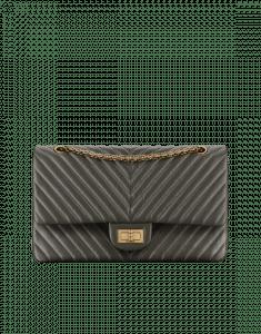 Chanel Dark Grey Size 227 Chevron 2.55 Flap Bag