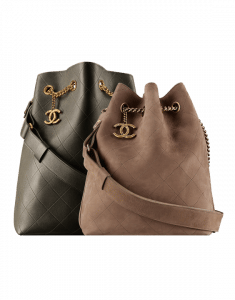 Chanel Dark Khaki Calfskin Large and Brown Suede Small On My Shoulder Drawstring Bags